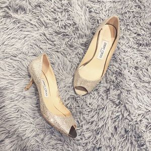 • Jimmy Choo • Sparkly Peep Toe Heels Silver 35.5